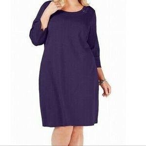 Karen Scott 3X Dress Purple Scoop Neck 3/4 Sleeve